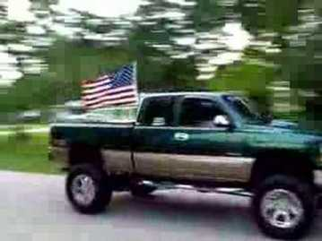 Flag in truck